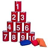Nexos Dosenwerfen Dosenschießen Dosenwurf-Spiel Büchsenwerfen Partyspiel Blechdosen nummeriert 10 Dosen 3 Wurf-Säckchen Kindergeburtstag Garten