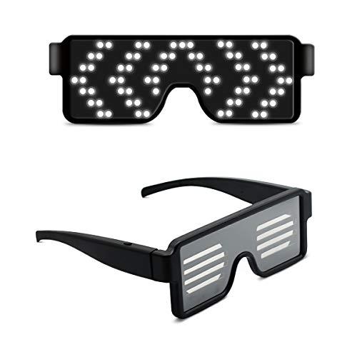 LumiSyne Drahtlose LED Brille Party Dekoration USB Wiederaufladbare 11 Dynamische Muster Leuchtende Party Brille Party Bars Geburtstag Halloween Karneval
