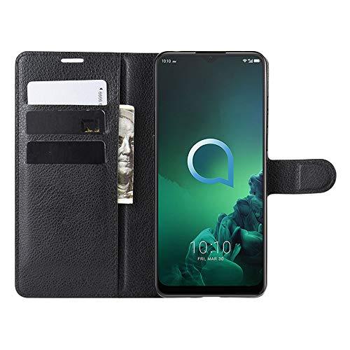 DAMAIJIA für Alcatel 3X 2019 Hüllen Klapphülle PU Leder Silikon Wallet Schutzhülle Schutz Mobiltelefon Flip Back Cover für Alcatel3X 2019 5048Y Tasche Handy Zubehör (Black)