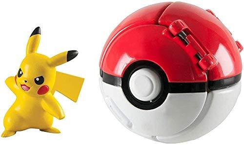FHERIC Pokèmon Throw N Pop Poké Ball with Pokemon Action Figures Toy for Kids (Pikachu and Poké Ball A)-Pikachu and Poké Ball B
