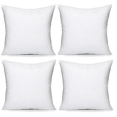 Acanva Hypoallergenic Pillow Insert Form Cushion Sham, 22-4Pack, White, 4 Piece