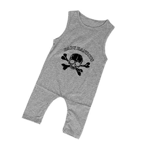 kingko® Mode Newborn Infant Bébés garçons Imprimer sans manches Romper Jumpsuit Vêtements Tenues (24M, gris)