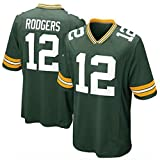 WSZS Men's Rugby Jersey NFL T-Shirt Green Bay Packers 12# Rodgers Child Short Sleeve Comfortable Breathable Sweatshirt, Sports Short Sleeve V-Neck T-Shirt