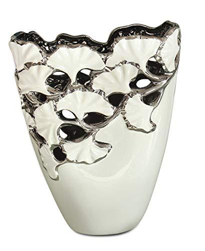 GILDE Dreamlight Collection Vase - Tischvase aus Keramik in weiß Silber H 27,5 cm
