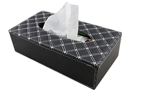 Chytaii Boîtes à Mouchoirs en Cuir PU Tissue Box Décoration Voiture Rectangle(Noir)