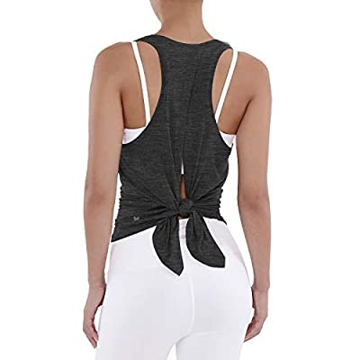 ODODOS Workout Tank Tops for Women Sleeveless Yoga Tops for Women Tie Back Muscle Shirts Racerback Tank Tops, Charcoal Heather, Medium
