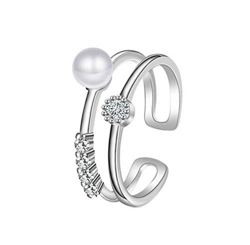Boowhol - Anillo para mujer o niña, plata 925, diseño de doble perla con circonita, anillo índice, anillo ajustable