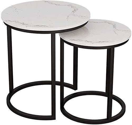 KKY-ENTER Conjunto de 2 pequeñas mesas de anidación de apilamiento para la sala de estar Mesas laterales redondas - Mesas de café de la cabecera de la cama de la cabecera de la decoración - Mármol bla