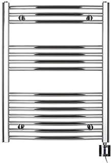 Eléctrico Radiador de baño, Cromo, curvada, de gran calidad, disponible en varios tamaños, incluye varilla de calefacción y cartucho calentador KTX-24, toallas, toallero ((77,5x 750B)