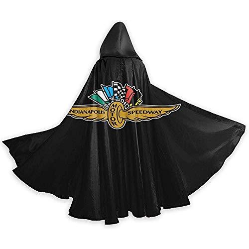 KDU Fashion Wizard Mantel, Unisex Indianapolis Mo-Tor Speedway Logo Kerstmis Halloween Heks Party Hooded Volwassen Vampiers Bruiloft Cape Cloak Zwart 40X150Cm