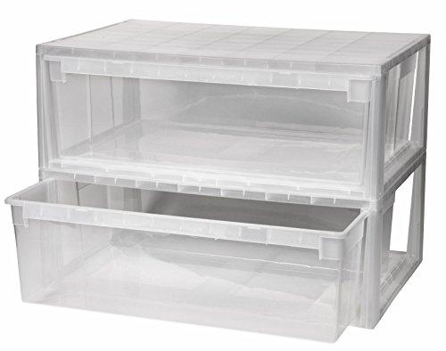 Kreher 2 Stück Schubladenboxen mit Nutzvolumen 36 Liter pro Box. Passend für z.B. Pullover, Shirts, Hosen, Papier, etc.Maße pro Box: 59,6 x 39 x 21,3 cm