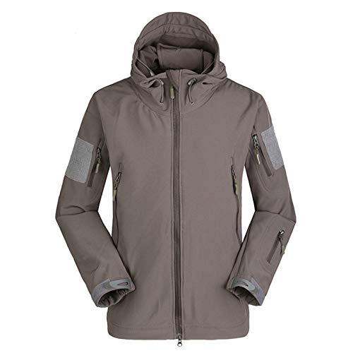 THWJSH Kurtka bojowa męska, sezon zimowy wojskowe kurtki airsoft, klasyczne kamuflażowe kurtki wędkarskie, odzież myśliwska softshell bluza z kapturem, na zewnątrz śnieg plaża sport 12 XL