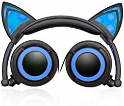 hype cat ear led headphones with mic