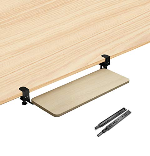 XZGDEN Wooden Desk Extender Pull Out with Extra Sturdy C Clamp Mount System Keyboard Tray Slide-Out Desk Extender For Keyboard - Yellow,29x10in