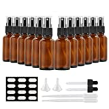 Cobalt Blue Glass Spray Bottles, SXUDA 12 Pack 50Empty Small Fine Mist Spray Bottles for Essential Oils, Cleaning Products, or Aromatherapy (Amber1oz-12P)