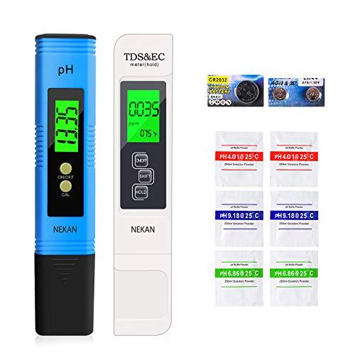 NEKAN Testeur pH Mètre,TDS&EC Mètre Température, 4 en 1 PH Testeur de qualité de l'eau avec Écran LCD Auto-Calibration Test pour Piscine,...