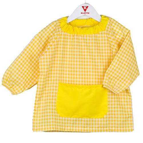 KLOTTZ - Babi poncho sin botones guardería. Bata escolar cómoda de vestir perfecta para comedores y colegios. bebé-niños color: AMARILLO talla: 2