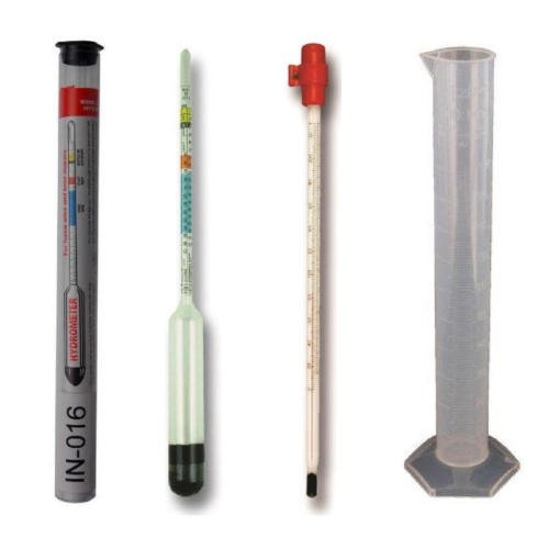 Hydrometer for home brewing, thermometer and test tube of 100 ml - Equipment for brewing and wine