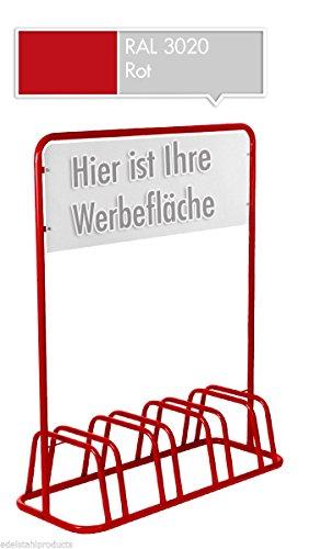 4er Werbe-Fahrradständer mit Werbeschild / Fahrradhalter + Werbetafel (Rot)