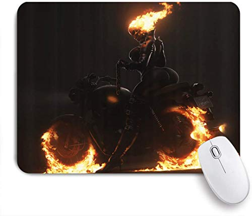 GRATNNA Printed Mouse Pad Fire Sexy Woman Riding on The Firing Motorcycle,Decorative Mousepad for Game Players Office,Desk Decor,9.5x7.9 inch