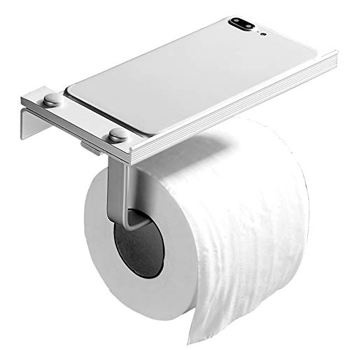 Lucky grote kop YY Zelfklevende toiletrolhouder met Moblie telefoonhouder standaard, aluminium muur gemonteerd toiletpapier houder zonder boren voor badkamer