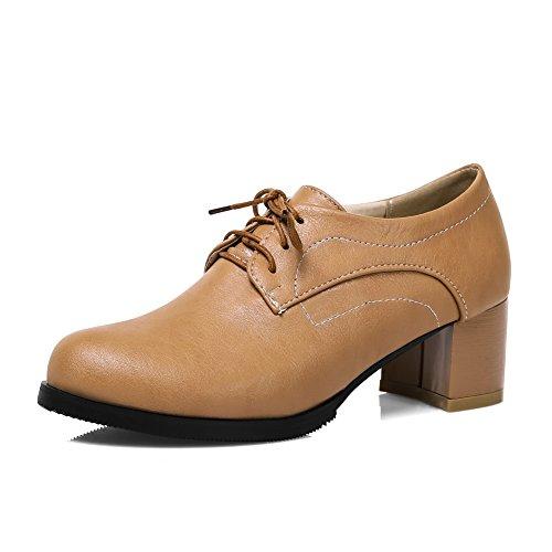 CosyFever Zapatos Oxford Chunky Bajo conCerrado con Cordones Ata para Arriba DC39 para Mujeres Albaricoque - 37 EU