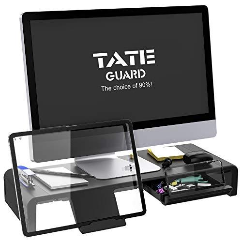 Faltbarer Monitorständer Riser TATEGUARD Computer Monitorständer mit Verstellbarer Breite kompatibel mit i\'Mac Drucker Laptop mit Aufbewahrungsschublade Tablet & Handyständer Halter Schwarz