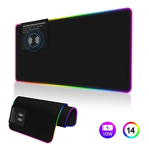 10 Watt Wireless Ladegerät Mauspad, Beleuchtetes Mauspad, Weiche LED Gaming Tastatur Matte Drahtlose Lade Große Mousepad