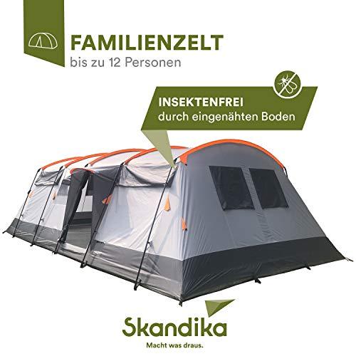 skandika Hurricane Protect 12 Personen Familien-Zelt, eingenähter Zeltboden, wasserdicht durch 5000 mm Wassersäule, Robustes Steilwand-Zelt mit 4 Schlafkabinen, Insekten-Netzen, über 2 m Stehhöhe