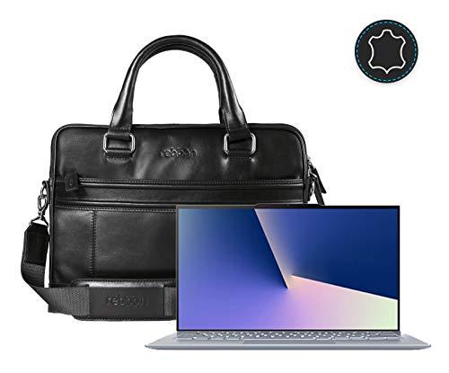 Leder Laptoptasche für Damen/Herren passend für Asus ZenBook S13 | Schwarz Leder