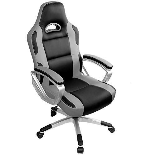 IntimaTe WM Heart Gaming Chairs,Ergonomic Computer Office Chair for Adults and Kids,Adjustable Recliner Chair Pc Desk Swivel Leather Chair with Arms for Home,Grey
