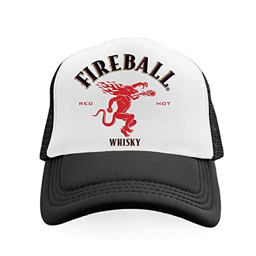 Fireball Whisky The Dragon Logo Tastes Like Heaven Burns Like Hell Vintage Trucker Hat Retro Snapback Cap Vintage (Red)