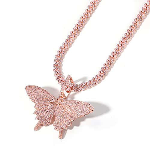 GYAM Collar Accesorios De Hip-Hop Collar con Colgante De Mariposa De Circonita Rosa Cadena De Suéter De Temperamento para Unisex
