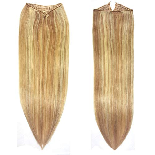 Knockout Hair Fits like a Halo Hair Extensions, 16-Inch, Human, 120 Grams, Darkest Blonde Light Blonde Mix - #7B/613-16'