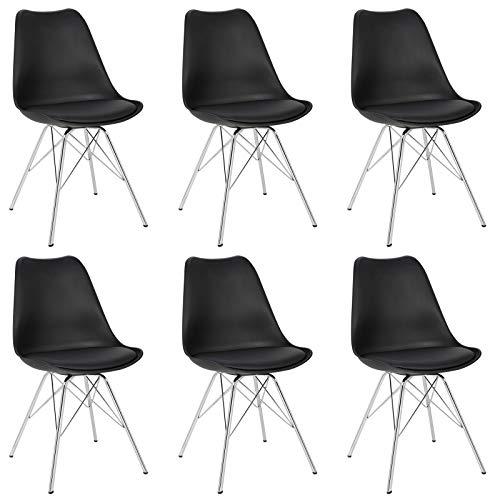 eSituro SDC0051-6 6 x Esszimmerstühle Polsterstuhl Küchenstuhl 6er Set Wohnzimmerstuhl, Sitzfläche aus Kunstleder, mit Metallbeine und Rückenlehne, Schwarz