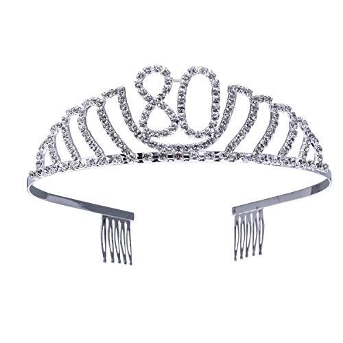 Frcolor Couronne Anniversaire 80 Ans Tiare Diadème Princesse avec Peigne Strass Cristal (argent)