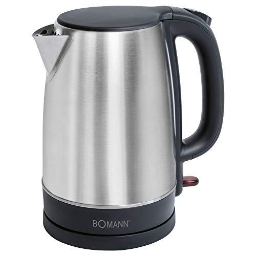 Bomann WKS 6043 CB - Hervidor de agua (1,7 L, acero inoxidable oculto, apagado automatico y manual, estacion base con recogedor de cables, acero inoxidable), color negro