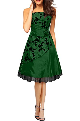 BlackButterfly 'Sia' Vestido De Gala De Satén Essence (Verde Oscuro, ES 36 - XS)