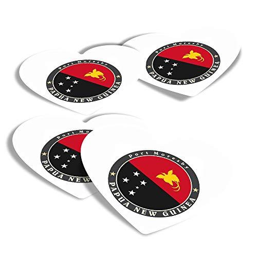 Pegatinas de corazón de vinilo (juego de 4) – Bandera de Papúa Nueva Guinea Port Moresby Fun calcomanías para ordenadores portátiles, tabletas, equipaje, reserva de chatarra, frigoríficos #5092