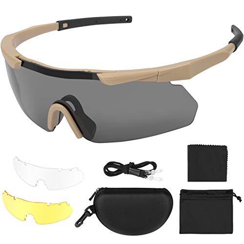 Feyachi Schutzbrille mit durchsichtigen Anti-Beschlag und kratzbeständigen Gläsern, Seitenschutz und rutschfesten Bügeln, UV-Schutz, verstellbar (Bräunen)