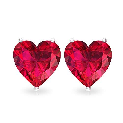 Orecchini a perno con rubino a forma di cuore, 3 ct, con pietre preziose certificate SGL, orecchini da sposa per damigella d'onore,18K Oro bianco, Paio