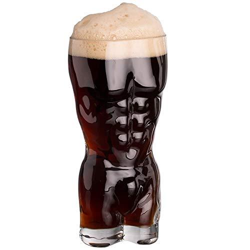 Juego de vasos de cerveza para cerveza, vasos de whisky creativos, vasos de whisky duraderos, vasos transparentes con forma de cuerpo con regalo para fiestas en el hogar, clubes, eventos (400 ml)