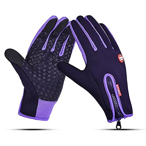 Waterproof Winter Warm Gloves Household Snowboard Ski Gloves Motorcycle Riding Winter Touch Screen Gloves Tool-Purple-4-S