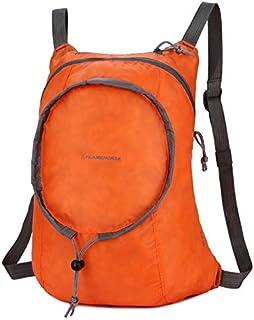 FFX Nylon Waterproof Collapsible Backpackage Women Men Travel Portable Comfort Lightweight Storage Folding Bag(Orange) Outdoor Bags (Color : Orange)