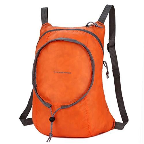 G-rf Nylon Waterproof Collapsible Backpackage Women Men Travel Portable Comfort Lightweight Storage Folding Bag (Orange) (Color : Orange)
