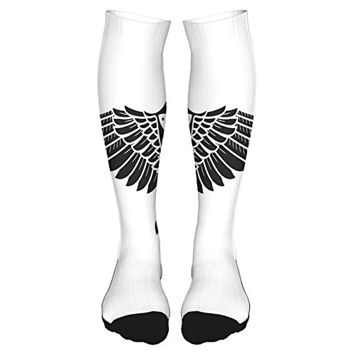 2021 Fashion Thigh High Socks Cotton Over the Knee Socks,Norse Mythology Theme Bird Figure in Celtic Ancient Symbol Monochrome,Long Knee High Socks for man and woman 60cm
