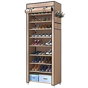 UDEAR Zapato del gabinete Zapatero de Tela 10 Niveles Zapateros y hormas para Zapatos,Marrón