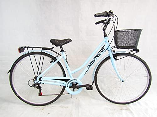 bicicletta donna bici da passeggio 28 city bike trekking telaio in alluminio (azzurro)