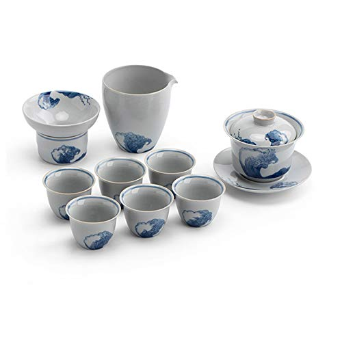 Juego de té Conjuntos de té de cerámica de kungfu de 9 piezas, incluyendo taza de té pública chino tureen 6 taza de té pequeño y texero de té paquete de regalo estilo retro Juego de té portátil