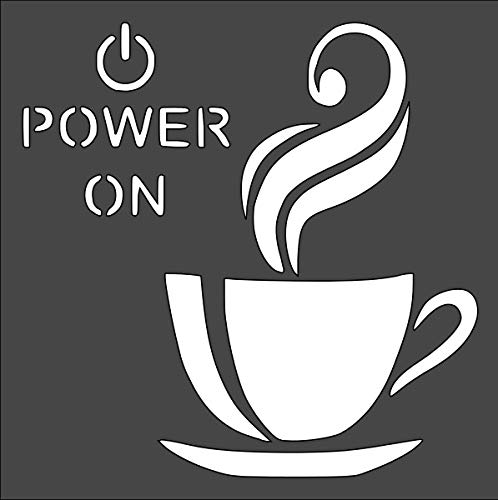 Coffee Power on Logo Stencil Reusable Sturdy Flexible Clear Plastic 1-5.5x5.5 in Arts and Crafts Material Scrapbooking for Airbrush Painting Drawing